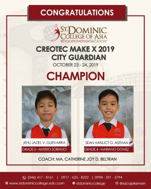 SDCA Basic Education Champion in the First Creotec MakeX Robotics 2019 City Guardian Competition